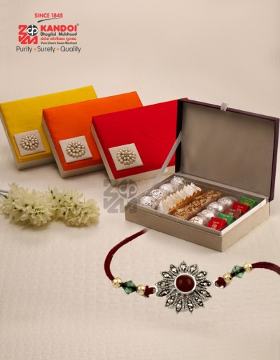 Pearl Box (Assorted Sweets) With Rakhi